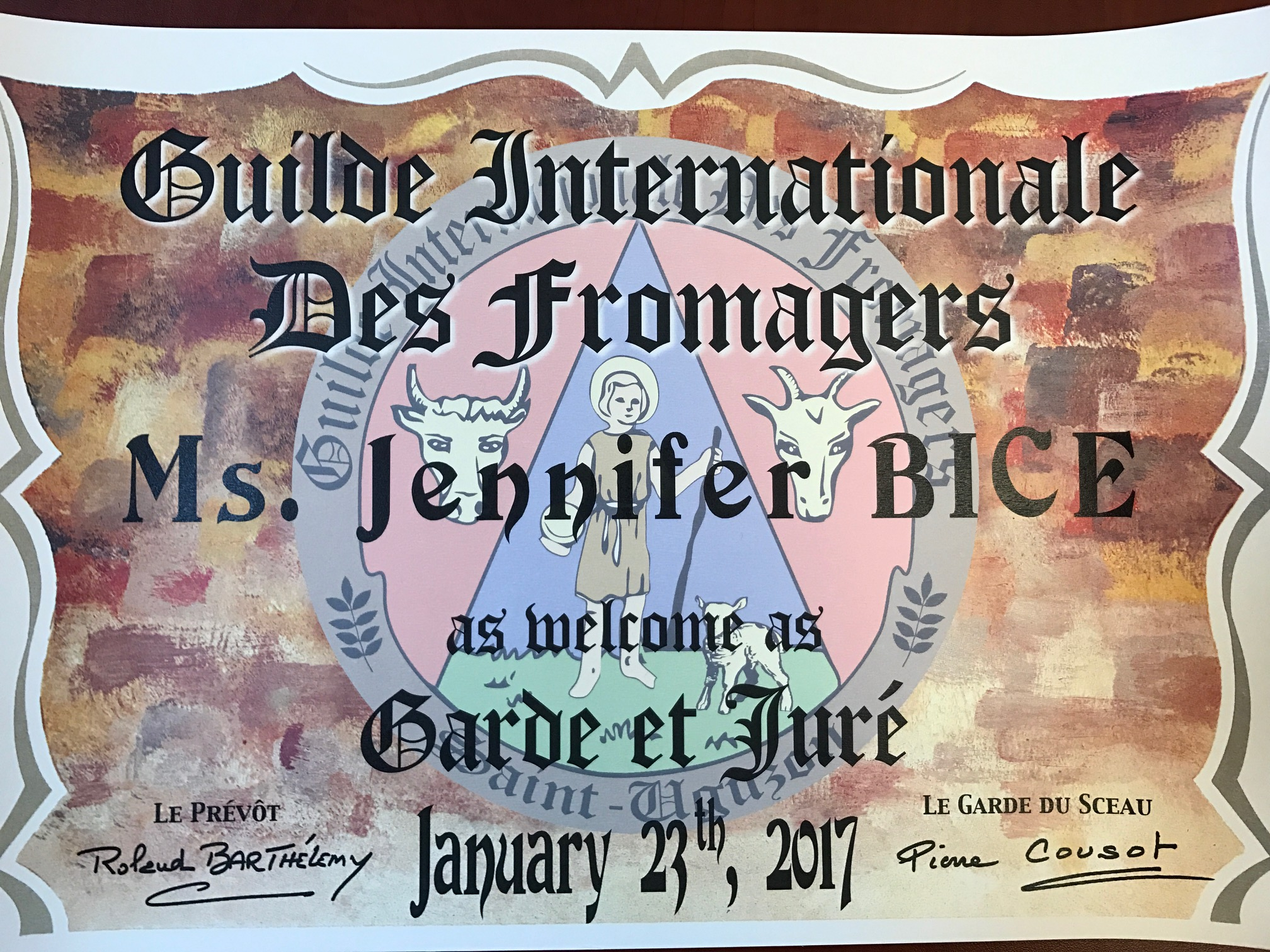 Guilde des Fromagers certificate